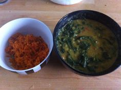 Spicy Spinach with lentils and stir fried carrot gratings
