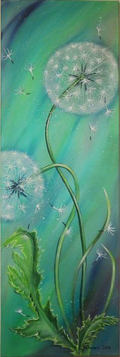 Dieses zauberhaftes Bild zeigt zwei Pusteblumen und herumfliegende Schirmchen. Es ist in frühlingshaftem kräftigen Grün gemalt mit einigen blauen Schattierungen.    Dieses Acrylgemälde ist 40cm...