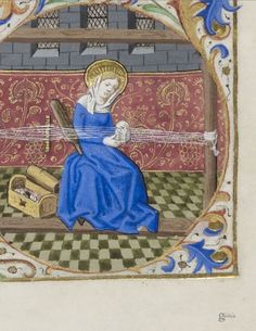 Tablet weaving with hexagonal cards - BnF Latin 1176 Inkle Weaving, Weaving Tools, Inkle Loom, Card Weaving, Tablet Weaving, Lucet, Medieval Manuscript, Illuminated Manuscript, Medieval Crafts