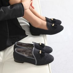Made In Korea Women's Tassel Slip On Loafer Shoes Suede & Inner Fur Low Heel #DeamTree #LoafersMoccasins #WeartoWork