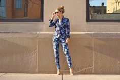 Loving the floral suit pictured by @TheCHICagoLifeBlog. This bold suit is really on trend for the Spring. Jacket and pants look great together, but can also be worn separately with other pieces to create multiple looks.- JA
