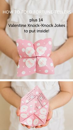 Valentine's Day Fortune Teller - post has full folding instructions plus 14 Valentine's Day Knock-Knock jokes that my kids loved!