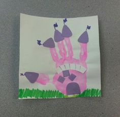 Preschool fairytale week castle handprint craft