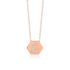 Made Simply Boutique's Hexagon Necklace in Rose Gold, Letter E