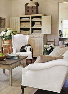 elegant country  ❀  ~  ◊   journal photo credits n/a...ahh white couches/furniture :)