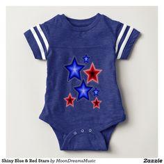 #ShinyBlueAndRedStars #BabyFootballBodysuit by #MoonDreamsDesigns #4thOfJulyStyle