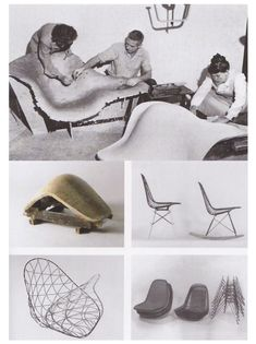 Charles and Ray Eames working on Eames chairs