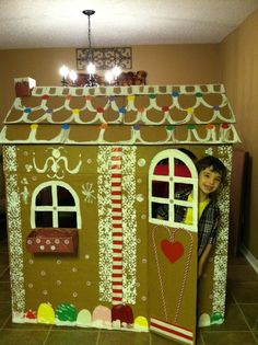 Cardboard gingerbread house life size gingerbread winter kids and life sized gingerbread house diy my favorite gingerbread boy luke we made this solutioingenieria Images