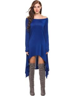 Blue Casual Long Sleeve Solid Asymmetrical Hem Off Shoulder Pullover Knee Length Dresses Tops