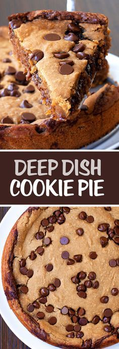 Every time I make this, people ask for the reci… Gooey Chocolate Chip Cookie Pie. Every time I make this, people ask for the recipe. Chocolate Chip Cookie Cheesecake, Chocolate Chip Cookie Bars, Chocolate Chip Recipes, Chocolate Desserts, Vegan Desserts, Delicious Desserts, Dessert Recipes, Chocolate Pizza, Chocolate Chip Cupcakes