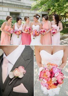 VA Real Wedding - Bergerons Flowers - Bergerons Event Florist Blog - Liz and Brad's Breathtaking Pink and Peach Wedding #peachflowers #pinkflowers
