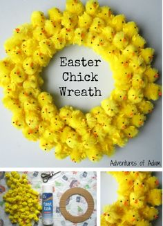Easter Chick Wreath Craft Idea for Kids! Use Bostik Fast Tac spray glue to create this cute DIY Easter Chick Wreath. It makes a great Easter decoration. Glue small Easter chicks to a round piece of cardboard for a cheap and easy activity that'll keep Easter Projects, Easter Crafts For Kids, Bunny Crafts, Easter Ideas, Kids Diy, Easter Bunny, Easter Eggs, Easter Chick, Easter Dyi