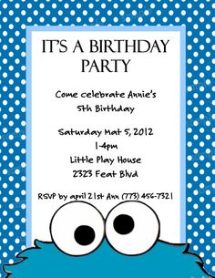 Cookie monster birthday invitation monster birthday invitations cookie monster birthday invitation monster birthday invitations and cookie monster filmwisefo Gallery