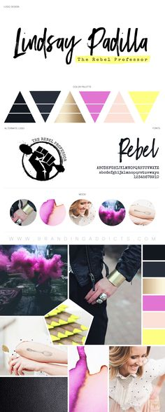 BOLD Rebel Entrepreneur Mood Board. Neon. Highlighter. Grunge. Teacher, Professor, educator. Adventure. Professional Business Branding by Designer Laine Napoli. Web Design, Logo, Mood Board, Brand Boards, and more.