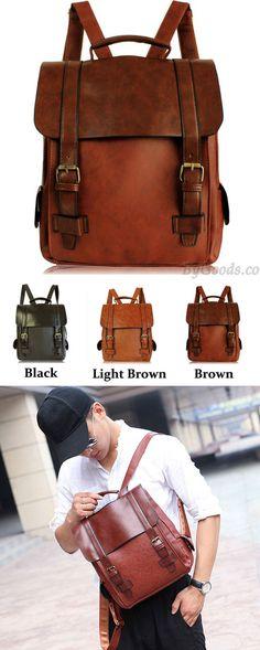 Vintage College Double Hasp Solid Clamshell Travel Backpack School Bag for big sale! #travel #pu #Backpack #bag #vintage #school