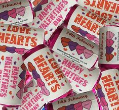 Make your Valentines Day special by giving these Valentines themed Love Hearts as a gift! Also great for favours at a restaurant or bar. Pack of 30 love hearts and labels for you to stick on the sweets yourself