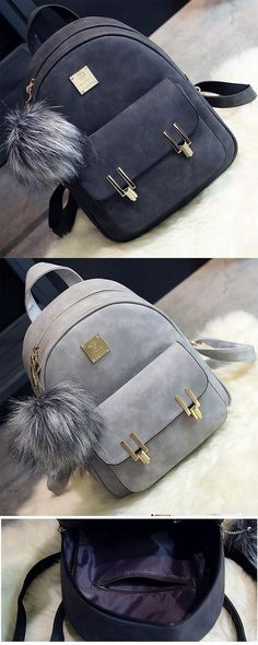 Fashion Frosted PU Zippered School Bag With Metal Lock Match Backpack for big sale! #fashion #pu #zippered #metal #school #college #Bag #backpack #student #women #travel #rucksack