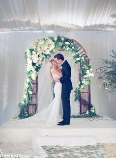 Floral arch ways for Ceremony have been big for a while but i think it captures such an elegant look, shake it up by extending the draping or hanging. This look will never get old!