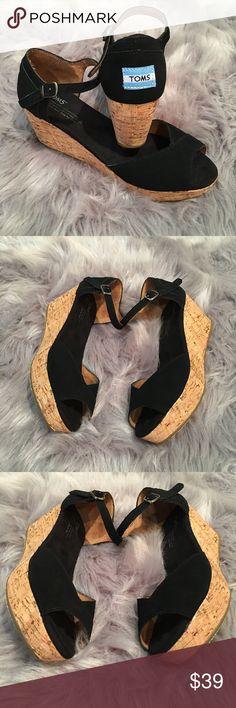 Toms Black Suede Peep Toe Ankle Platform Sandals Toms Black Suede Peep Toe Ankle Strap Platform Sandals w/ Suede Sides Size 7 Shoes Wedges