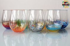 Everyone needs a pop of color in their lives. Including you. If you are not ready to give your walls or your entire home a chance to be colorful, you can at least do it with your glasses. Choose glassware that you use every day and make it colored glassware. That way you can enjoy it more often and have more fun while doing everyday routines. http://diyfreaks.com/colored-glassware/