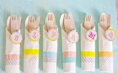 Ideas para Baby Shower  Venta de cubiertos desechables de madera. #Cucharas, #tenedores #cuchillos #etcmx #fiesta #party #decoration #decoracion
