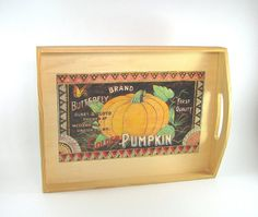 Serving Tray Decoration  Wood Pyrography  Pumpkin by bkinspired, $55.00