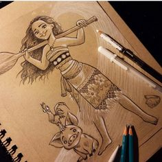 I'd been feeling pretty uninspired the last week or so. After finally seeing Moana last night, my art block was gone! 🌊🌴 had to do a sketch of her and especially of Hei Hei! Cartoon Sketches, Art Drawings Sketches, Cool Drawings, Moana Sketches, Disney Sketches, Cute Disney Drawings, Disney Princess Drawings, Moana Fan Art, Hei Hei Moana