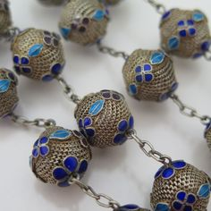 A Vintage Chinese Silver Filigree Enamel Bead Necklace.