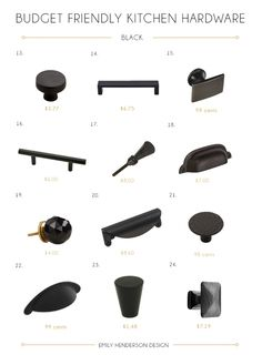 48 Budget Friendly Kitchen Hardware Knobs & Pulls - Emily Henderson Budget Friendly Black Kitchen Hardware Knobs and Pulls Kitchen Pulls, Kitchen Cabinet Hardware, Black Handles Kitchen, Hardware For Cabinets, Handles For Kitchen Cabinets, Kitchen Black, Bathroom Hardware, Home Hardware, Cabinet Doors