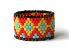Colorful peyote ring beaded ring beadwoven ring por HappyBeadwork