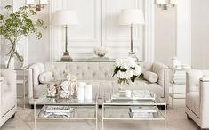 Off whites and mirrored living room