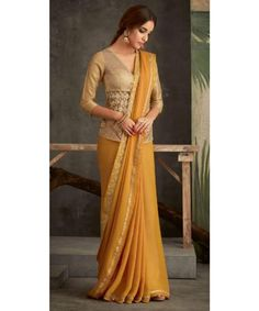Buy Online Party Wear Designer Sarees At Best Price From Mangaldeep. Saree Wearing Styles, Saree Styles, Latest Saree Trends, Saree Blouse Neck Designs, Stylish Sarees, Saree Look, Elegant Saree, Orange Saree, Yellow Saree