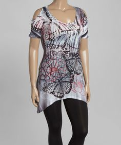 Love this Citi Life Black & Gray Abstract Cutout Tunic - Plus by Citi Life on #zulily! #zulilyfinds