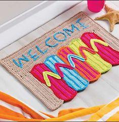 Ravelry: Flip-Flop Doormat pattern by Debra Arch. Crochet World Magazine, June Crochet Home Decor, Crochet Crafts, Crochet Projects, Crochet World, Love Crochet, Knit Crochet, Crochet Kitchen, Kitchen Rug, Fabric Yarn