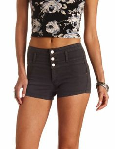 "Refuge ""Hi-Waist Shortie"" Colored Denim Shorts: Charlotte Russe"