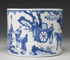A blue and white brushpot (bitong), Qing dynasty, Kangxi period