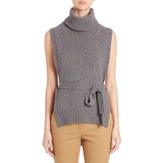 Rosetta Getty Cashmere Merino Cowl Neck Sweater (930 CAD) ❤ liked on Polyvore featuring tops, sweaters, apparel & accessories, charcoal, cashmere tops, cowlneck top, sleeveless cowl neck top, cowl neck tops and merino sweater