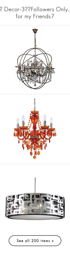 """""""✦ Decor-3/🔻Followers Only… for my Friends.🔻"""" by tomoko22 ❤ liked on Polyvore featuring home, lighting, ceiling lights, crystal pendant light, strand lighting, crystal chandelier light, crystal ceiling lamp, crystal chandelier lamp, orange and 5 arm chandelier"""