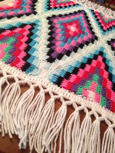 Tribal Baby Blanket with Fringe by ktcatastrophe on Etsy, $40.00
