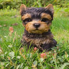 Hi-Line Gift Ltd. Sitting Yorkshire Terrier Puppy Garden Statue - 87771-H