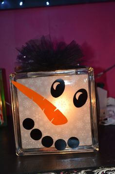 Snowman Lighted Glass Block. $25.00, via Etsy.