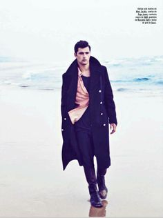 """Sean O'Pry at VNY Models in """"A Capas"""" (""""Coasts"""") photopraphed at Fondo Beach near Lisbon, Portugal, by Richard Ramos for the October 2012 issue of Spanish GQ."""
