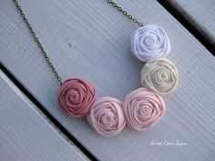 Mini Rosette Necklace Blush Pink Fabric Necklace от SweetCamiJayne