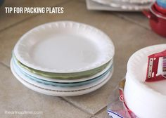 Put foam plates between your nice plates for easier packing! Tons of great tips and ideas for moving.