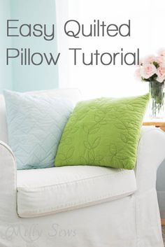 Easy Quilted Pillow Tutorial by Melly Sews You don't have to be a big-time quilter .only need to know one stitch.good way to try out this craft Quilting Tips, Quilting Tutorials, Machine Quilting, Quilting Projects, Sewing Tutorials, Sewing Projects, Sewing Patterns, Sewing Hacks, Sewing Crafts