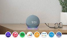 Nuovo Echo Dot (4ª generazione) con orologio - Ceruleo + Amazon Smart Plug (presa intelligente con connettività Wi-Fi... Amazon Echo, Alexa App, Clock Display, Works With Alexa, Color Names, Wi Fi, Audio System, Blue Grey, Indian