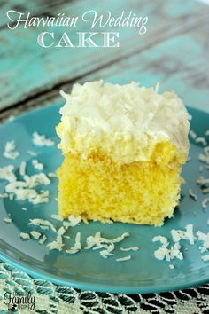 Hawaiian Wedding Cake - I'm not sure if this Hawaiian Wedding Cake is actually served at weddings in Hawaii, or where it got it's name, but I do know it is a light, refreshing summertime cake that tastes a lot like a piña colada. It is a basic cake mix cake with three layers on top – a crushed pineapple layer that seeps into the cake, a creamy pudding layer, and then whipped topping and coconut on top.