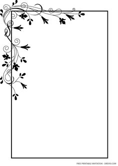 Free (FREE PRINTABLE) – Black and White Floral Wedding Invitation Templates #free #freeinvitation2019 #birthday #disney #invitations #invitationtemplates Boarder Designs, Frame Border Design, Page Borders Design, Floral Wedding Invitations, Wedding Invitation Templates, Free Printable Birthday Invitations, Disney Invitations, Flower Background Wallpaper, Borders For Paper