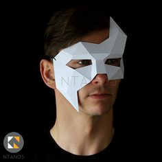 Geometric low poly papercraft Phantom paper mask by Ntanos Low Poly Mask, Phantom Mask, Mask Drawing, Paper Mask, Mask Template, Figure Drawing Reference, Body Adornment, Animal Masks, Masks Art