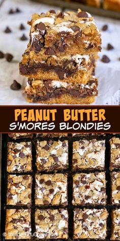Peanut Butter S'mores Blondies - swirls of gooey marshmallow and fudge add a fun and delicious flavor to this easy peanut butter blonde brownies! Great recipe to make for summer picnics or parties. Desserts To Make, Food To Make, Delicious Desserts, Brownie Recipes, Cookie Recipes, Dessert Recipes, Bar Recipes, Cream Recipes, Snack Recipes